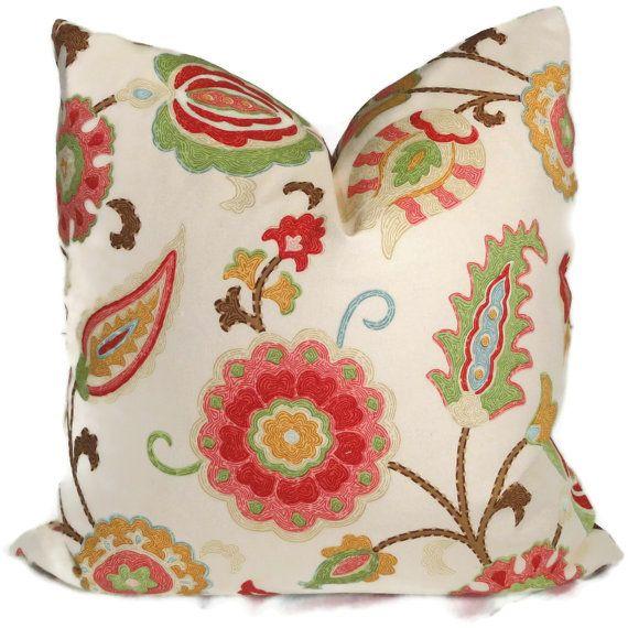 Spring Colors Jacobean Floral Decorative Pillow Cover