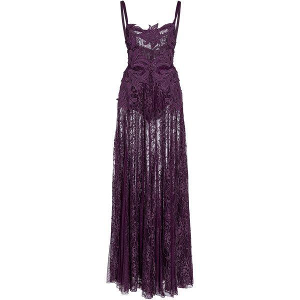 Elie Saab Macramé Lace Long Dress ($9,200) ❤ liked on Polyvore featuring dresses, gowns, dresses/gowns, gown, purple, purple evening dresses, purple gown, lace dress, long lace evening dresses and lace ball gown