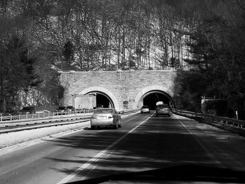 Merritt Parkway Heading Into West Rock Heroes Tunnel