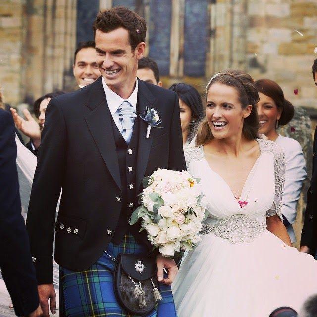 網球場的路上。To The Tennis Court: 恭喜Andy Murray結婚了 - Andy Murray marries girlfriend Kim Sears in Dunblane, UK