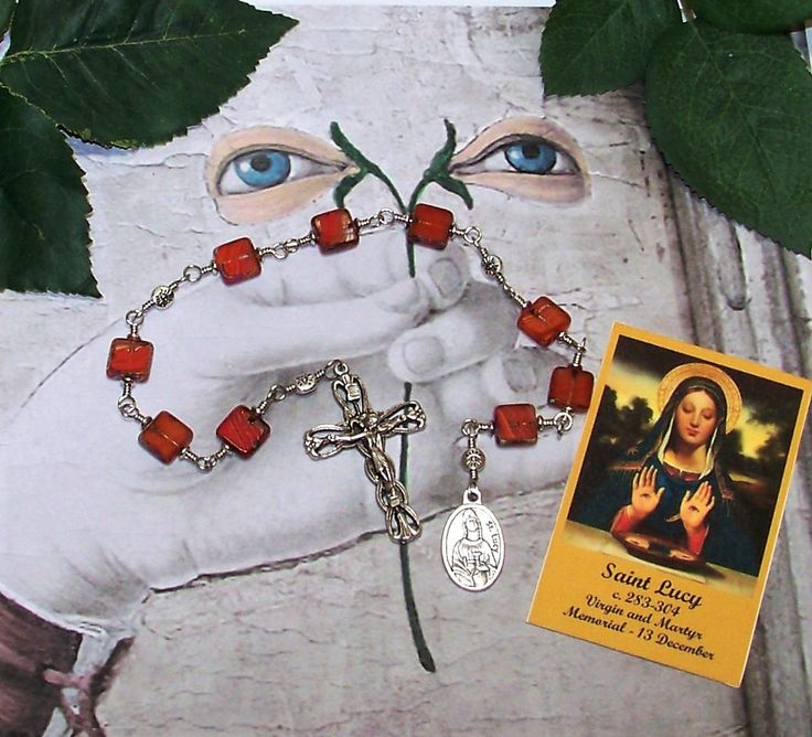 Unbreakable Link Catholic Relic Chaplet of St. Lucy of Syracuse - Patron Saint of Eye and Throat Problems, Laborers, Salespeople and Writers by foodforthesoul on Etsy