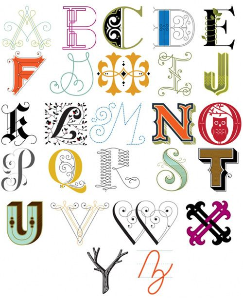 Decorative alphabets by MyOwlBarn, via Flickr