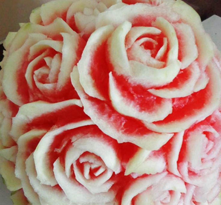 watermelon rose carving