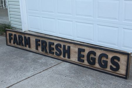 farm fresh eggs sign - nice routered sign - how clever.