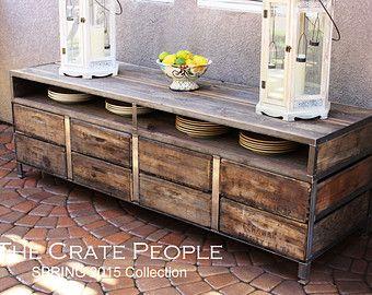 Table de buffet de 8 tiroir ou console tv caisses bois for Meuble porte grange