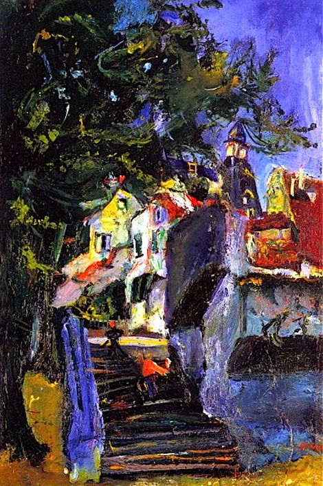 Chaim Soutine, Les Escaliers à Chartres, c.1933. Love all of his landscapes. They have such wonderful movement