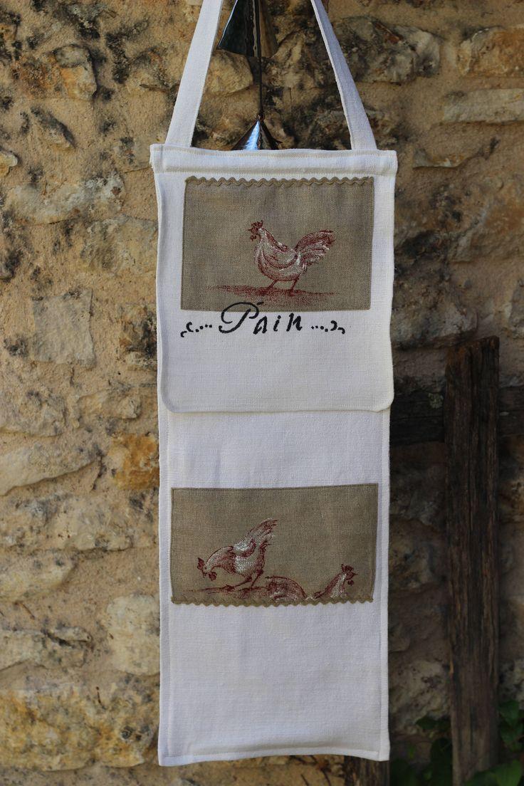 sac a pain en chanvre, tissu ancien pochoir (pain)appliqué poule de la boutique atelierdeugenie sur Etsy