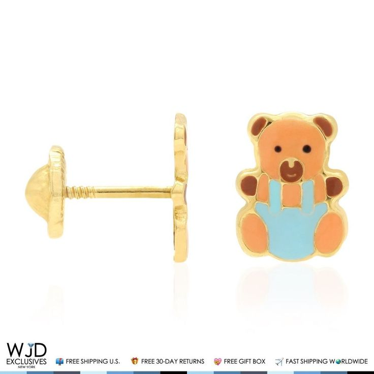 These cute and dainty brown enamel teddy bear stud earrings are crafted in 14K solid yellow gold and safely secured with baby screw back closure for a perfect fit. Product Specifics   Metal 14k Yellow Gold   Style Pink Enamel Bear Baby Screwback Stud Kids Earrings   Finish High...