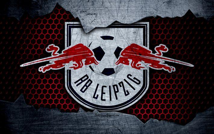 Herunterladen hintergrundbild rb leipzig, 4k, logo, bundesliga, metal texture, soccer, fc leipzig, football