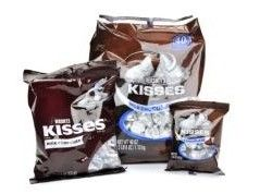 A bulk box of 9 large Hersheys Kisses Bags.