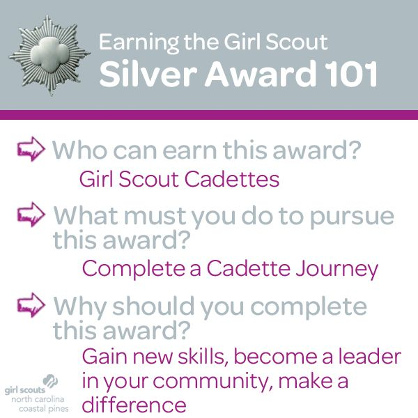 Girl Scouts have the power to bring positive and lasting change to their communities while earning the Girl Scout Silver Award. If you are currently a Girl Scout Cadette and have completed a Cadette Journey, learn how you can start earning the Girl Scout Silver Award! Click here for more information and downloadable guidelines!