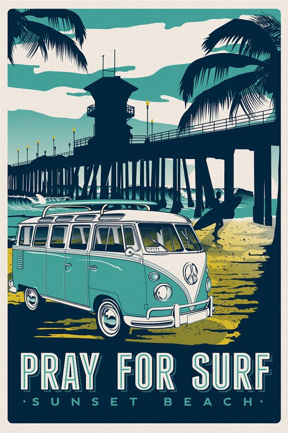 """this is 100% original artwork Pray for surf vintage volkswagen retro travel poster surfing beach surfer screen print poster hand screen printed 3 color design. ARTWORK SIZE IS 12""""X18"""" PRINTED ON VANILLA HEAVY COLD PRESSED ARTBOARD (VERY THICK) LIMITED RUN OF 50 PRINTS SIGNED AND NUMBERED! ADDITIONAL SIZES ARE AVAILABLE, PLEASE CONTACT ME IF YOU ARE INTERESTED. $24.99"""