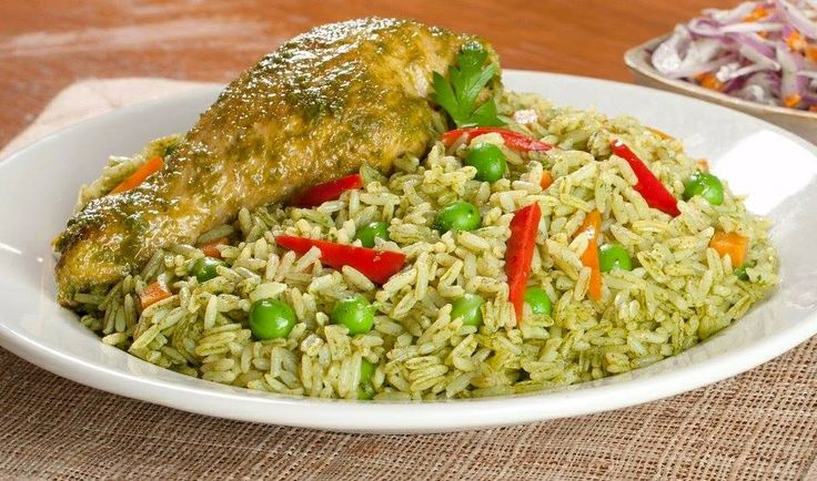 Peruvian chicken with rice arroz con pollo al estilo - Arroz en blanco con pollo ...