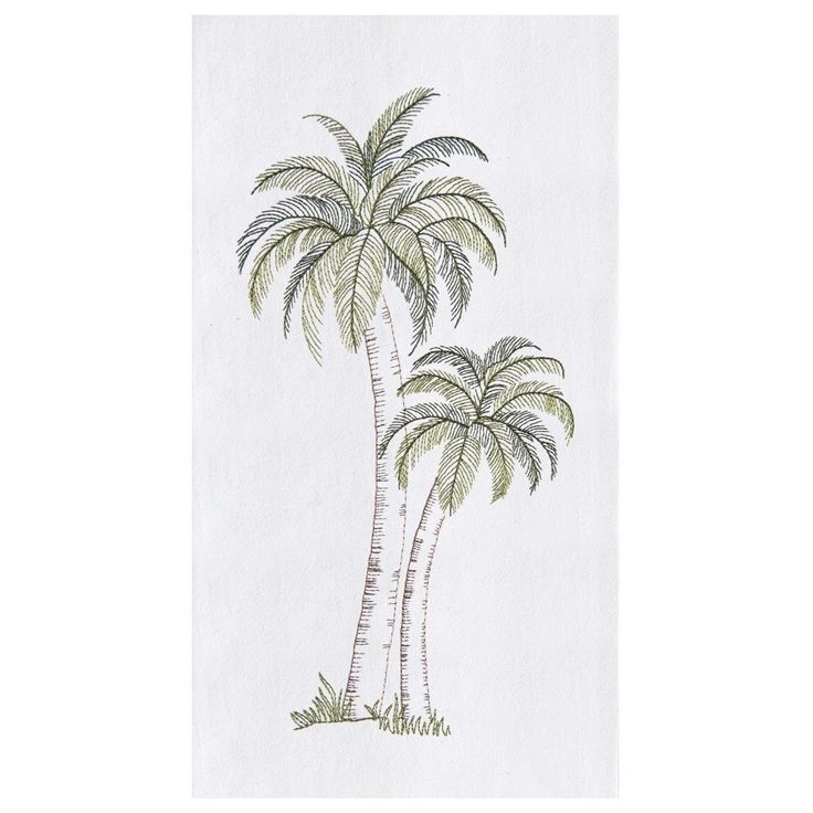 Tropical Palm Tree Embroidered Flour Sack Dishtowel