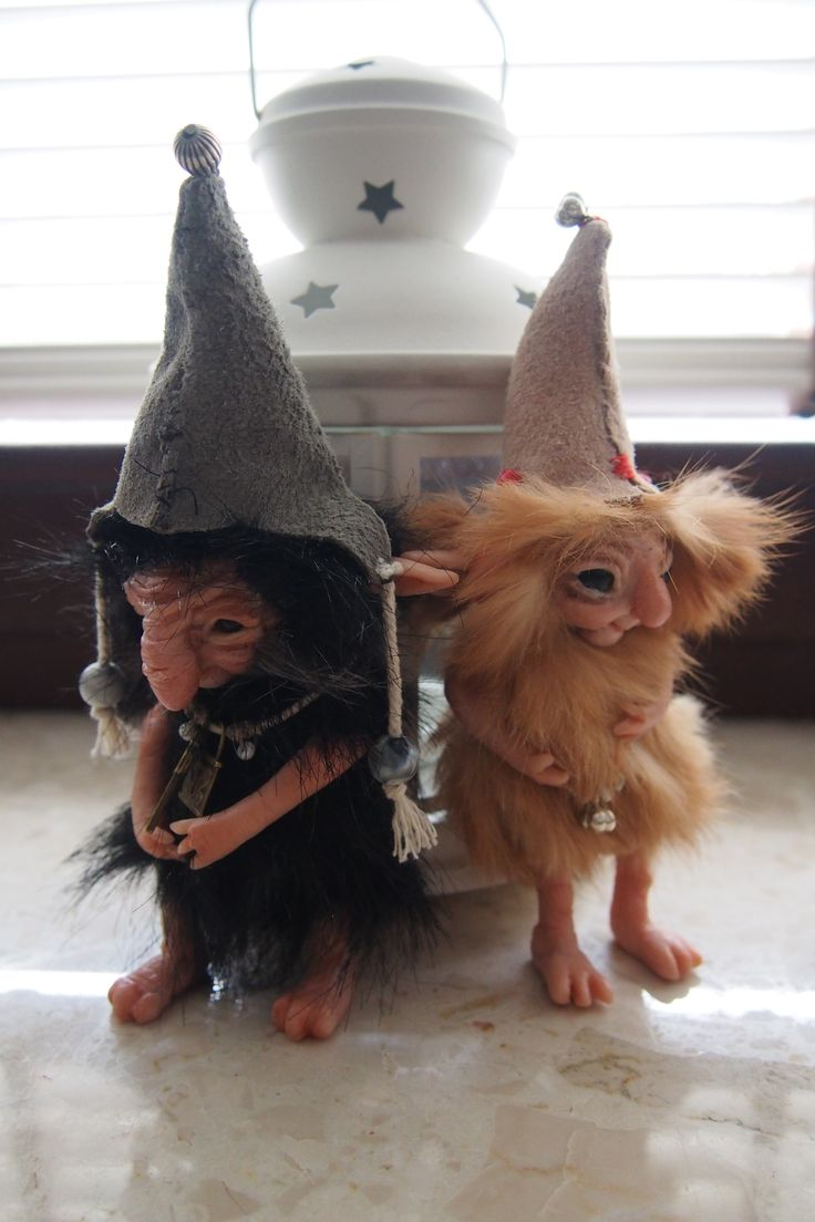 OOAK fantasy art doll little trolls gnomes GIRLUK  and GABRI by Muyestillo