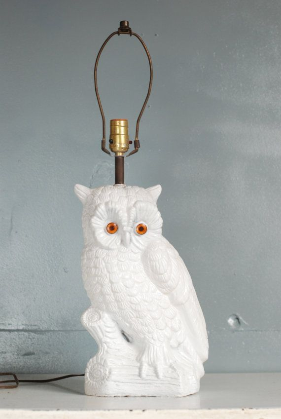 Vintage White Ceramic Owl Lamp by thevintagetreehouse on Etsy, $84.50