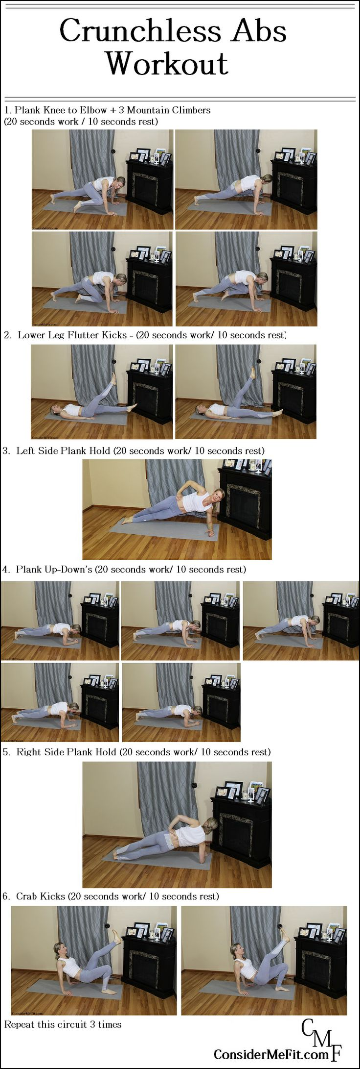 Crunchless Abs Workout - ZERO crunches!  Some of the best abdominal exercises involve no crunches (sit-up's) what-so-ever.