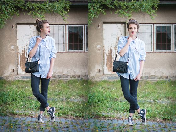 Get this look: http://lb.nu/look/7756938  More looks by Ludmila  Andršová: http://lb.nu/ludmilaandrs  Items in this look:  Second Hand Converse Sneakers, Vila Clothes Shirt, Second Hand Purse   #casual #chic #elegant