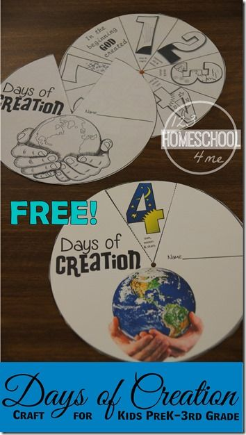 Here is aFREE Days of Creation Craft. This is a great printable craft to help you teach your child about creation.  Click here for m