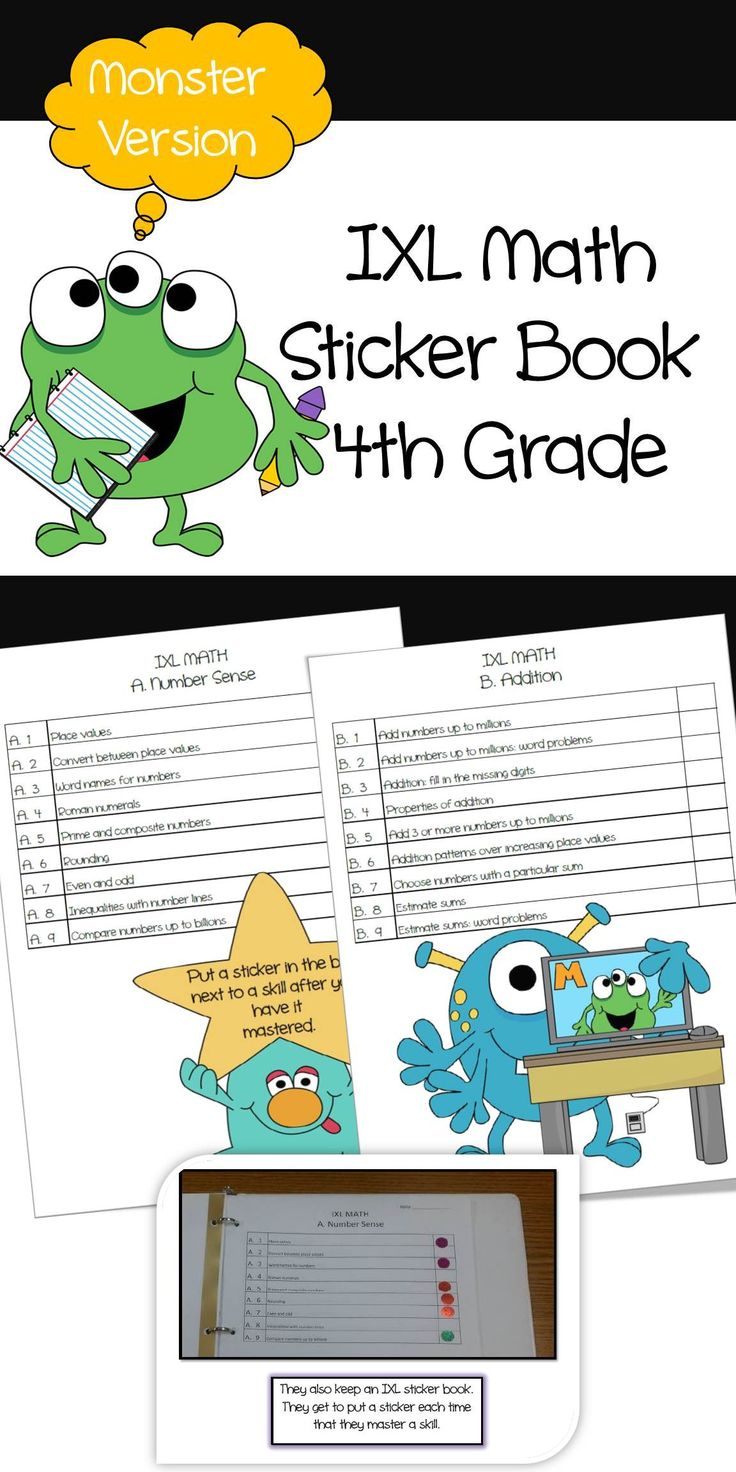Do your students use IXL? My kids love it. They do IXL every morning before school starts instead of sitting in the gym. They do IXL during math centers. They do IXL at home. My kids love IXL. I created a sticker book for students to put stickers next to each skill after it is mastered. What kid doesn't love stickers?