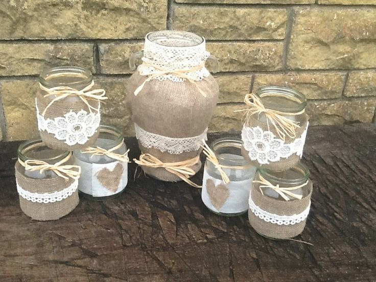 Shabby Chic Vintage Wedding Decorated Glass Jar Tea Light Holders Favours Set