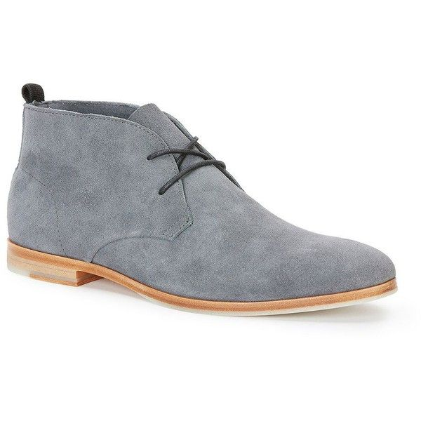 Calvin Klein Farnel Oily Suede Chukkas ($170) ❤ liked on Polyvore featuring men's fashion, men's shoes, men's boots, grey, mens gray boots, calvin klein mens boots, mens grey suede shoes, mens gray dress shoes and mens chukka boots