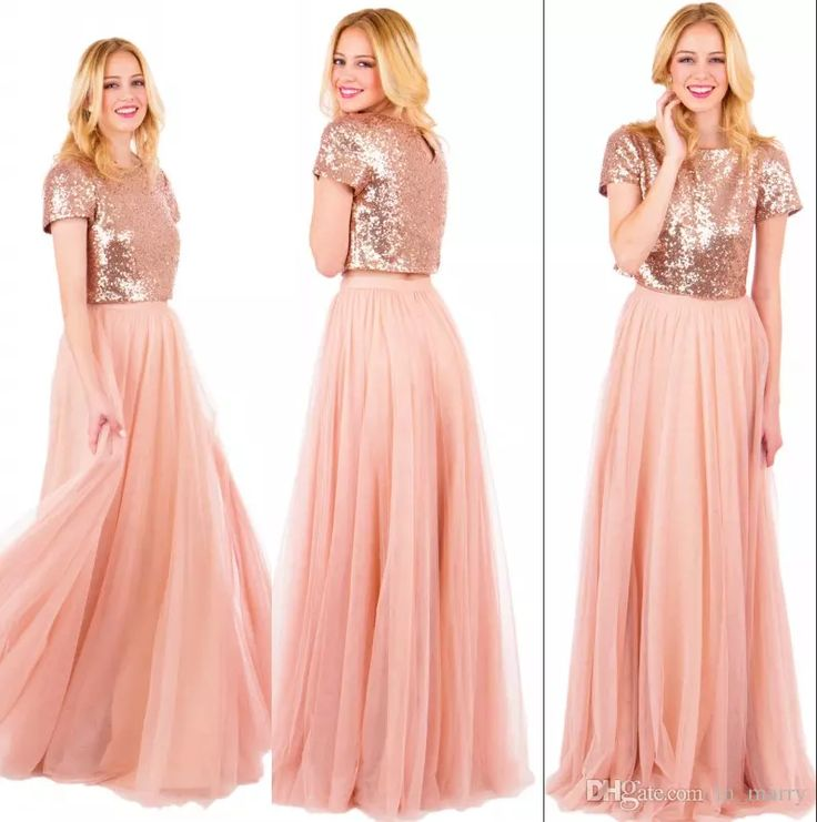 Sparkly Rose Gold Sequined Long Bridesmaids Dresses 2017 Plus Size A Line Two Pieces Blush Pink Chiffon Cheap Simple Girls Maid Of Honors Cheap Bridesmaids Dresses 2016 Bridesmaids Dresses Plus Size Bridemadis Dresses Online with $137.15/Piece on In_marry's Store | DHgate.com