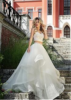 Alluring Organza Spaghetti Straps Neckline Crop Top A-line Wedding Dress With Lace Appliques & Crystal