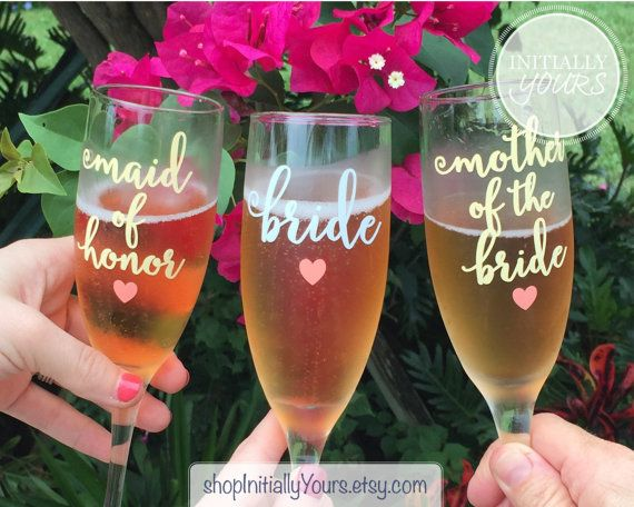 Listing is for one champagne glass  Picture 1 (left to right): Title: Maid of Honor, Title Color: Light Yellow, Heart: Coral Title: Bride,