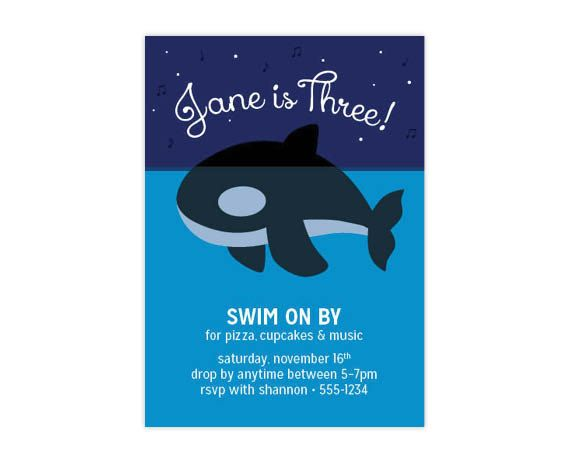 CUSTOM ORCA INVITATION  Personalized Killer Whale by helloinklings