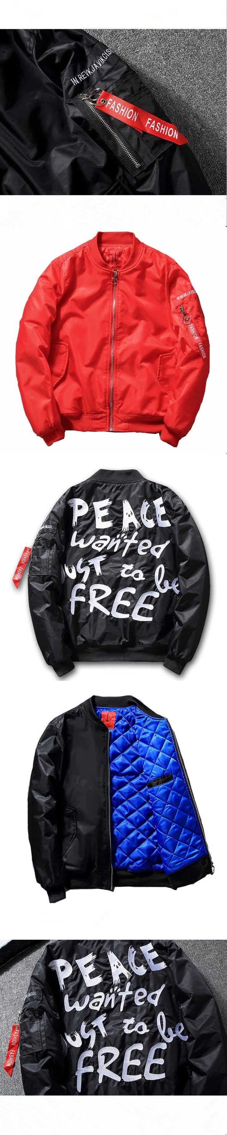 New hip-hop men's coats for 2018  Autumn Winter DJ Bomber Jacket Thick Peace Print Men Jackets Coat Mens Bomber Ma1 Jacket