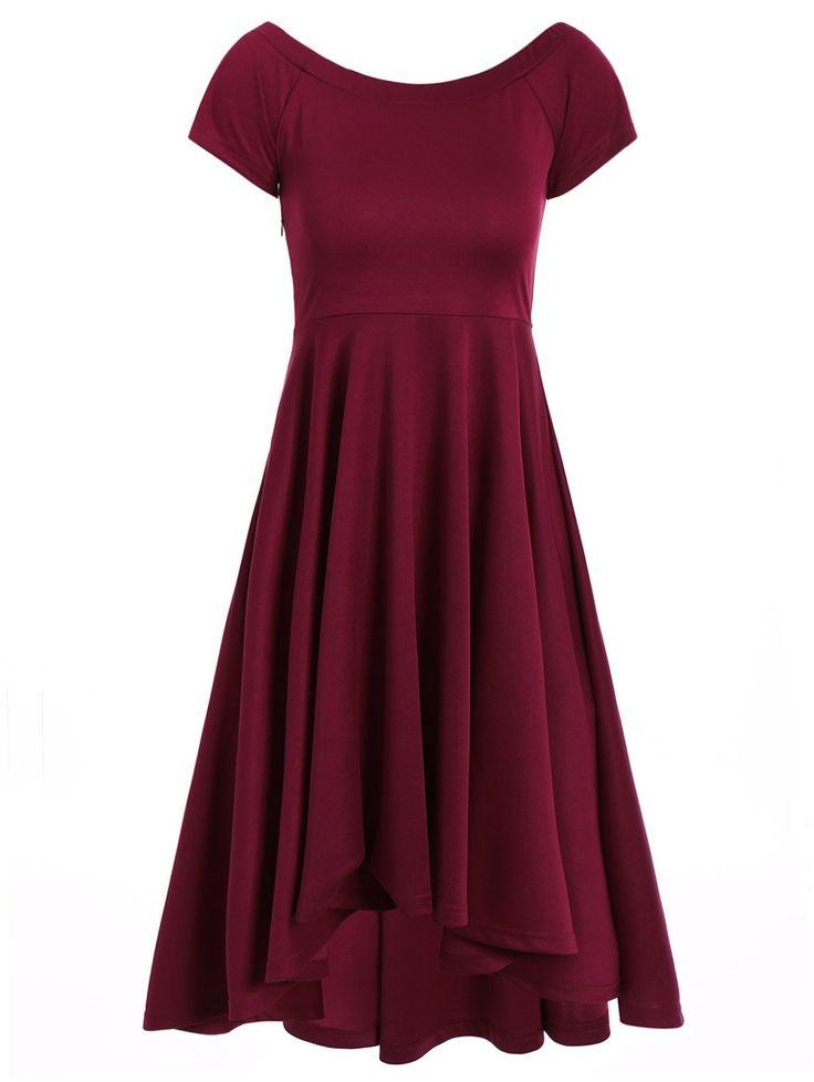 Asymmetrical Swing Dress in Wine Red   Sammydress.com