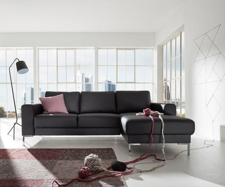 DELIFE Designer-Ecksofa Silas 255x147 cm Schwarz Ottomane Rechts, Ecksofas, Designer Sofa 10520-10007-0