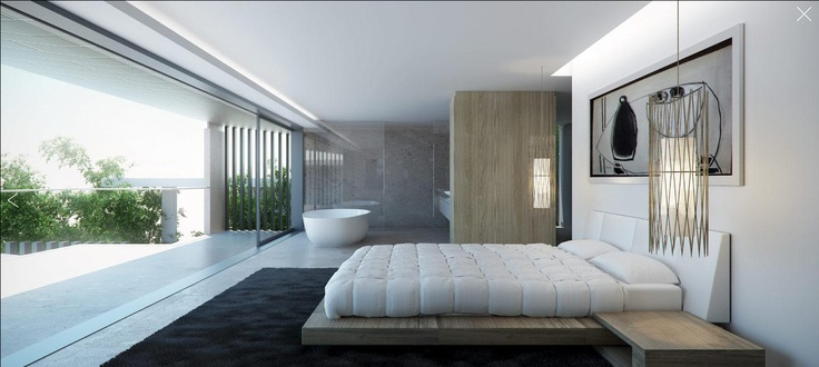 SOATA Architects Bed and bath nicely fused -- tub with a view