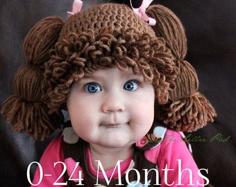 Cabbage Patch Kid Inspired Crochet Hat Wig CHILD by TheLilliePad