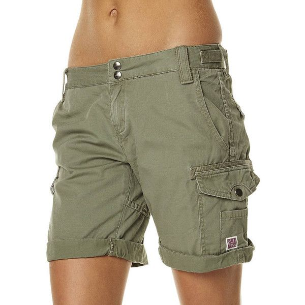 Rusty Cadet Walkshort ($58) ❤ liked on Polyvore featuring shorts, cargo shorts, green, women, cotton shorts, army green shorts, rusty shorts and army shorts