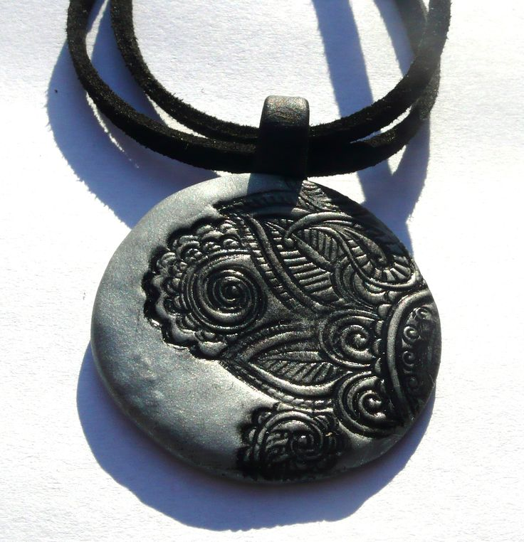 Black-silver oriental style necklace - polymer clay