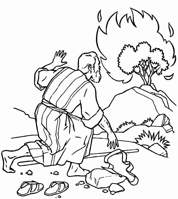 Moses And The Burning Bush Coloring Page Elegant Burning Bush Moses In 2020 Coloring Pages Super Coloring Pages Burning Bush Craft