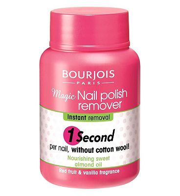 #Bourjois Magic Nail Polish Remover 75ml 10137940 #16 Advantage card points. With Bourjois Magic Nail Polish Remover there is no need for cotton wool. Dip your nail in and after 1 second, you take them out cleansed! FREE Delivery on orders over 45 GBP. (Barcode EAN=3052503283104)
