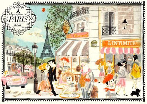 Adorable Paris printParisians Artistique, Paris Cafes Illustration, Ilustrista, Travel, French, Springtime, Luciano Lozano, Art Illustration, Paris Illustration
