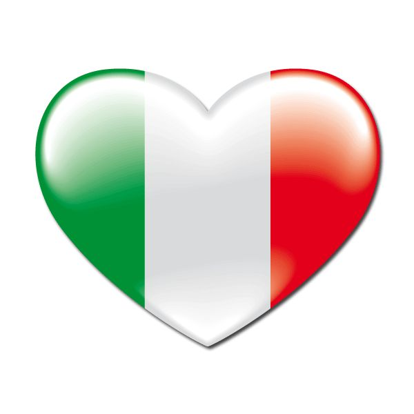 Pegatinas: bandera Corazón Italia #bandera #pegatina #TeleAdhesivo