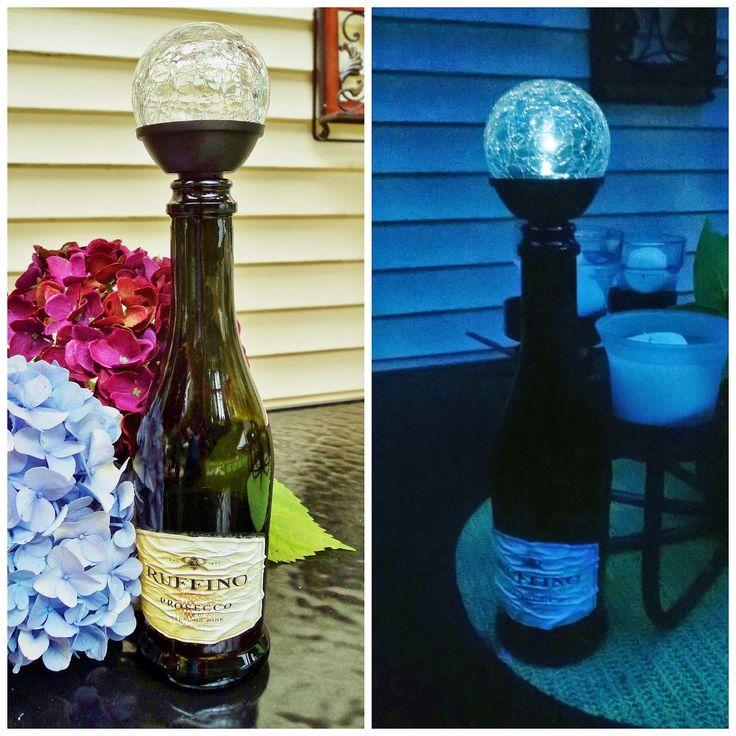Solar wine bottle stopper and light