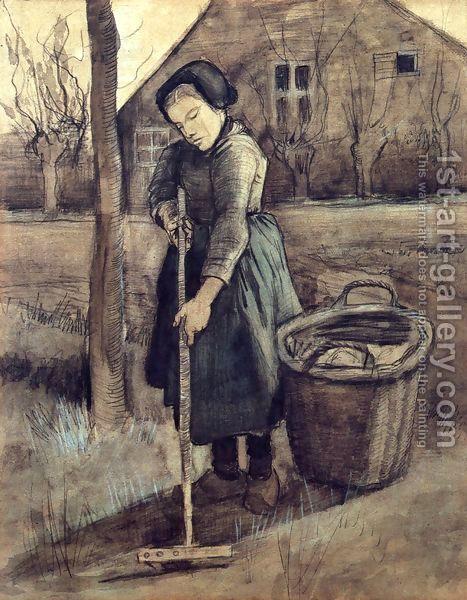 A Girl Raking by Vincent Van Gogh