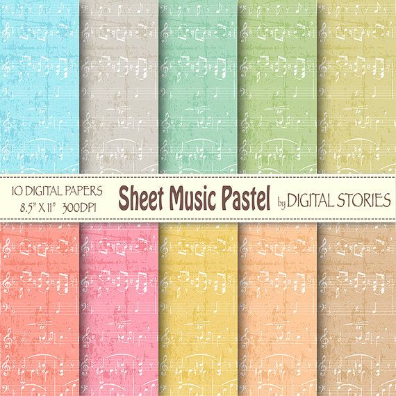 Music digital paper SHEET MUSIC PASTEL Music by DigitalStories, €2.60