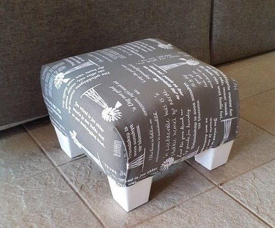 Very cute grey Windpomp motive foot stool