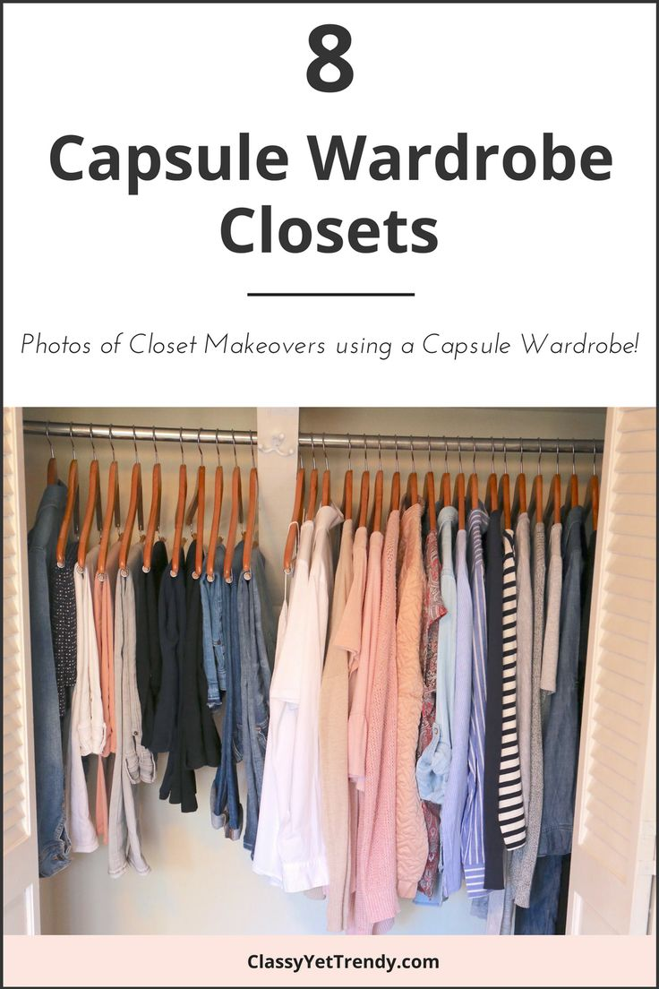 See 8 actual capsule wardrobe closets, including mine! A few members of the Capsule Wardrobe Collective shared photos of their capsule wardrobes. You may be surprised to see a limited number of clothes and/or shoes in their closets, but that is what makes a capsule wardrobe work so efficiently. By having a certain number of clothes and/or shoes in your closet that coordinate well with one another, you can have dozens of outfits to wear.