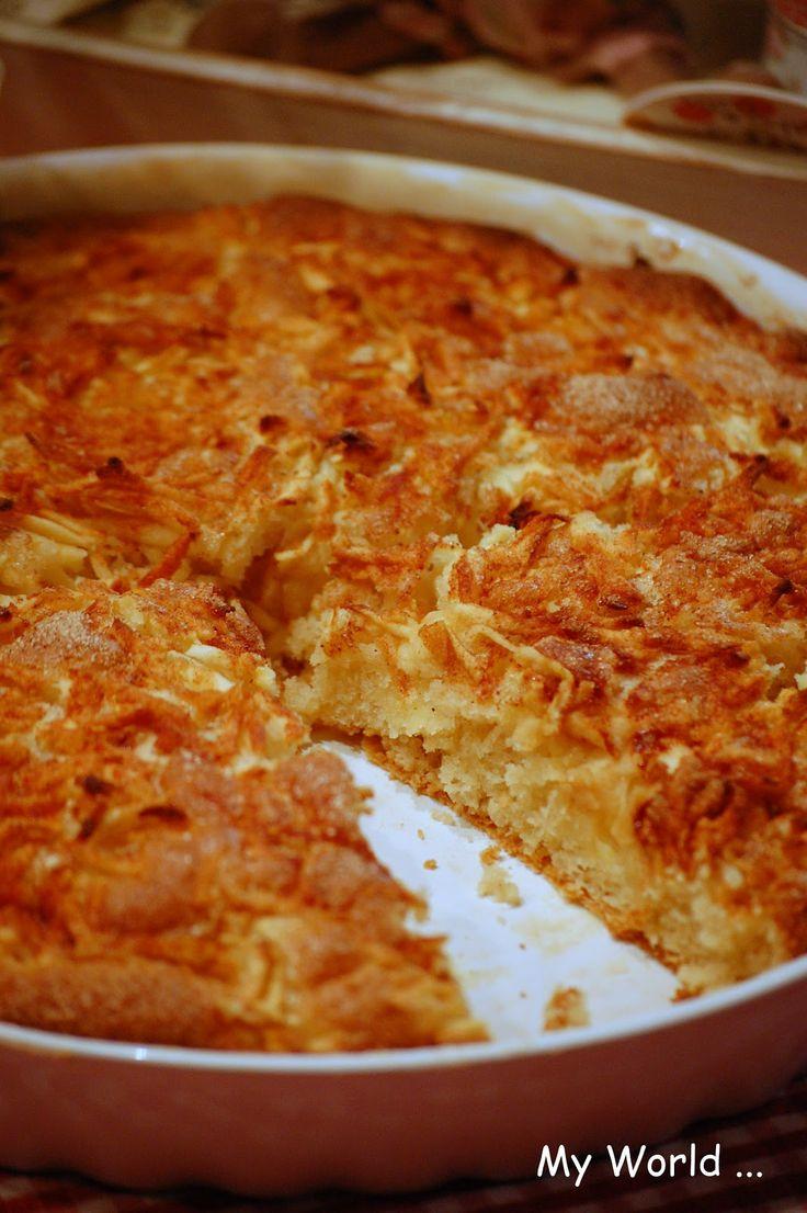 My World: Úúúžasnýýý koláč s jablky a skořicí :o)  1 hrnek polohrubé mouky 1 hrnek hladké mouky 3/4 hrnku cukru krupice (já používám hnědý cukr) 1 vanilkový cukr 1/2 prášku do pečiva 1 hrnek mléka 3/4 hrnku oleje 1 vejce   Smícháme nejdřív sypké suroviny, potom přidáme tekuté. Těsto nalejeme do vymazané a vysypané formy, poklademe nastrouhanými jablíčky (podle potřeby, mě na kulatou formu stačila dvě jablíčka), posypeme vanilkovým cukrem a skořicí a dáme péct na 30 minut při 180 ti stupních.