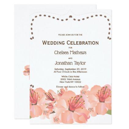 Tropical coral pink elegant modern floral Wedding Card - wedding invitations diy cyo special idea personalize card