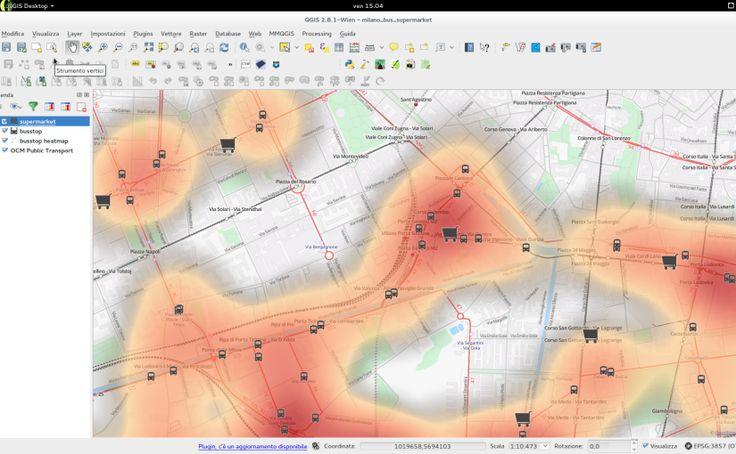 Mappa della concentrazione delle attività commerciali di Milano, in relazione alla fermata dei mezzi pubblici. Dati estratti da OpenStreetMap, mediante OverpassTurbo ed elaborati con QGis