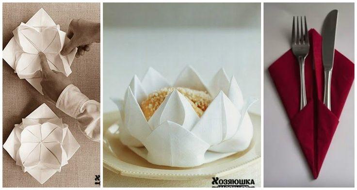 Figura de flor y muchas ideas m s para navidad con - Origami con servilletas ...